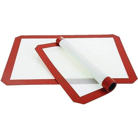 Lot de 2 tapis de cuisson en silicone antiadhésif réutilisable de qualité professionnelle