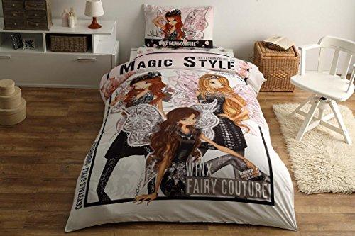 Original Lizenziert Bettwäsche-Set, Winx Magic Style Design, Single Größe, 100% Baumwolle, 3-Teilig (Bettbezug + Spannbettlaken + Kissenbezug)