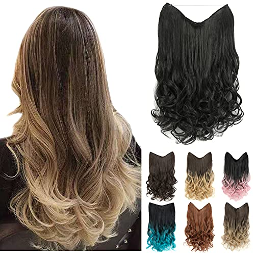 """GIRLSHOW 20"""" Halo Hair Extensions 4.41 Oz Synthetic Curly Wavy Long Invisible Transparent Wire Adjustable Size Heat Resistance Fiber No Clip Hairpieces for Women Girls (Off Black -#118, 20 Inch) -  MAYSA"""