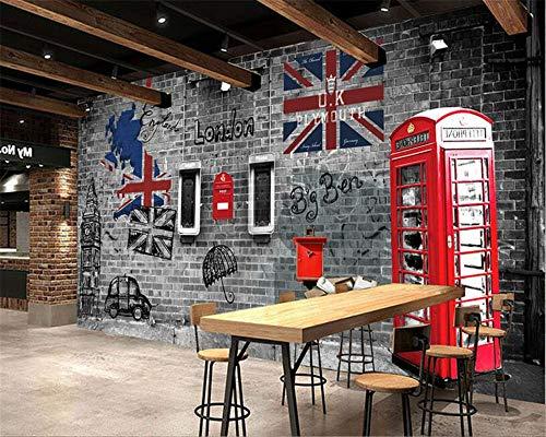 Papel tapiz 3D personalizado Europa y Estados Unidos retro nostalgia Londres cabina telefónica teléfono fondo de pantalla de pared, 430cmX300cm