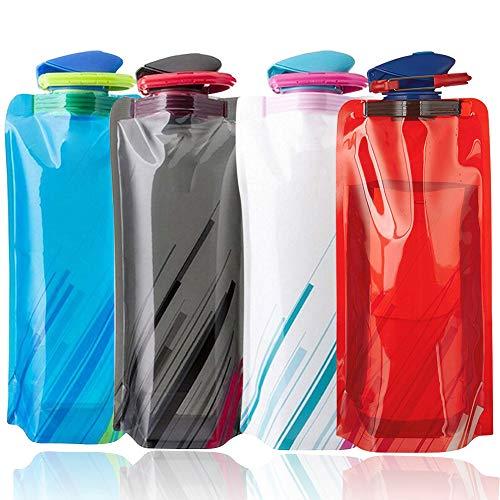 BESTZY Bolsa de agua,4pzs 700 ML Bolsa de agua reutilizable plegable Botella,Botella de agua plegable para senderismo,aventuras,viajes