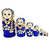 WT-DDJJK Lot de 7 poupées russes en bois bleu matriochka jouets pour enfants Noël décoration de chambre Halloween cadeau