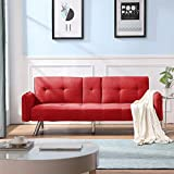 Merax Futon Bed Couch, Modern Sofa Sleeper Design for Living Room or Bedroom, Including Metal Legs and Upholstery Sofabed, Red