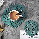 SUNTAOWAN 2 Pc Hoja Coaster Individuales Conjunto Resistente al Calor Estera del cojín for Comer Copa Mesa de la Cocina Trivet Individual Base Set