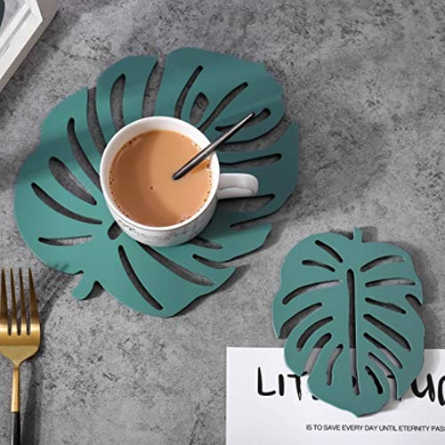 Tivivose 2 Pc Leaf Coaster Placemats Set Heat Resistant Mat Pad for Dining Table Kitchen Trivet Individual Cup Base Set