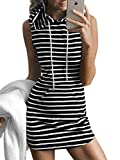 Joeoy Women's Casual Stripe Sleeveless T-Shirt Hoodie Dress Black