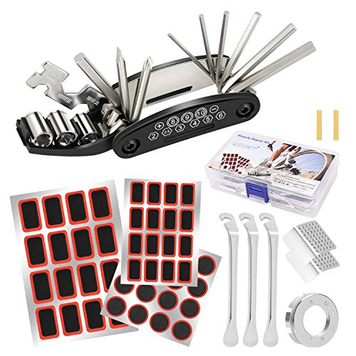 QKURT Bike Tire Puncture Repair Kit, Home Bike Tool Portable Patches Fixes Bicycle Cycling Mechanic Repair Tool Kit with 16 in 1 Muti-Function Repair Tool Bike Tire Levers Patches Spoke Wrench