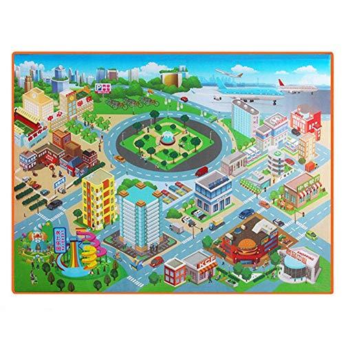 U/K 120 x 90 cm, alfombra de juegos para bebés, manta suave e impermeable, no tóxica, de polietileno, alfombra de ciudad, diseño de mapa de calle creativo y útil