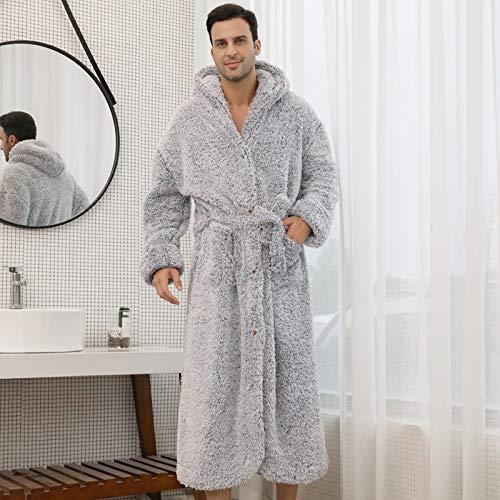 Women Plush Bathrobe Winter Warm Robe Kimono Bathrobe Gown Couple Hooded Nightwear Intimate Lingerie Casual Men&Women Nightgown Sleepwear Homewear (Color : Gray Men, Size : XL)