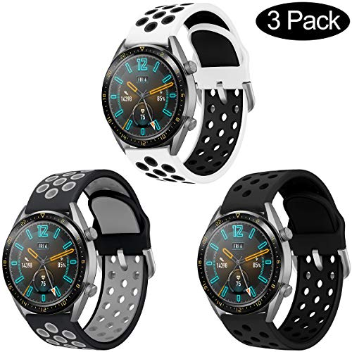 AOTVIRIS Compatible con Correa de Reloj Huawei Watch GT 2 46mm/Huawei Watch GT 2e/Huawei Watch GT Sport/Active 22mm Banda Silicona Pulsera para Galaxy Watch 46mm/Gear S3 Frontier