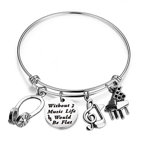Zuo Bao Music Bracelet Without Music Life Would Be Flat Music Note Charm Bracelet Music Lover Jewelry Gift (Music Bracelet)
