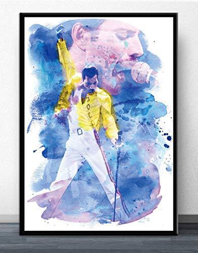 LCSLDW Leinwanddruck Leinwand Malerei Plakate Und Drucke Wandkunst Bild Freddie Mercury Rockmusik Vintage Poster Dekorative Wohnkultur, 70X100Cm Ohne Rahmen