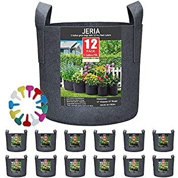 JERIA 12-Pack 5 Gallon Vegetable/Flower/Plant Grow Bags Aeration Fabric Pots with Handles  Black  Come with 12 Pcs Plant Labels