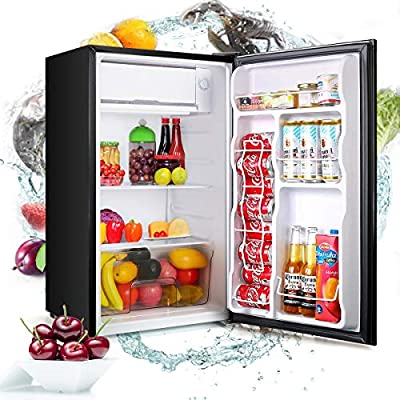 Dnyker U-MAX 3.2CU FT Single Door Fridge Mini Fridge with Freezer, 110V 91L Portable Reversible Refrigerator