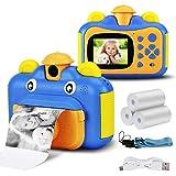 Seamuing Cámara de Impresión Instantánea para Niños, Cámara HD de 1080p con Pantalla de 2.4 Pulgadas y Cámara Fotográfica Instantánea en Blanco y Negro Zero Ink, Tarjeta SD de 32 GB (Azul)