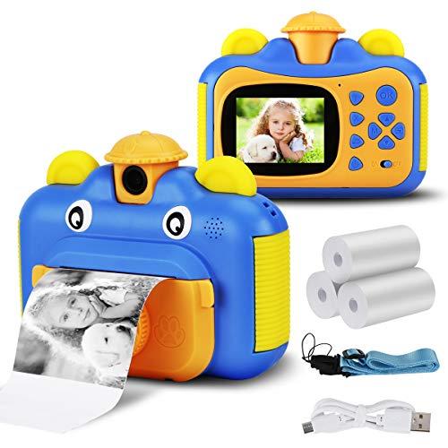 Seamuing Sofortbildkamera für Kinder 1080P HD-Kamera mit 2,4-Zoll-Bildschirm und sofortiger Druckkamera mit 2 Rollen Druckpapier und Einer 32-GB-SD-Karte (Blau)