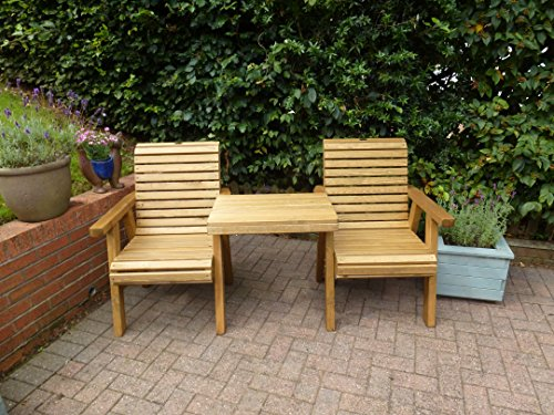 Riverco Trading Wooden Loveseat - Outdoor Solid Wood Garden Patio Furniture
