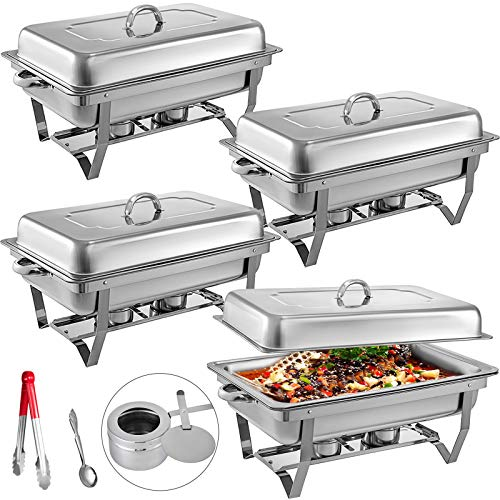 VEVOR Chafing Dishes 4 Pack 8 Quart, Stainless Steel Chafer Full Size Pans, Chafing Dish Buffet Set with Folding Frame