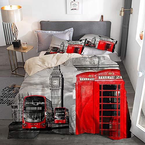 RUBEITA 3 Piezas3 Piezas Microfibra,Símbolos de Londres con Big Ben, Doble Decker Bus y TELEFONOS Rojos en Inglaterra,1 Funda Nórdica y 2 Funda de Almohada (Cama 240 x 260cm)