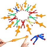 Numerge 20 Pcs Finger Slingshot Chicken and Climbing Man Toy Sets 10 Rubber Flying Chickens 10 Sticky Man Stress Relief Flick Stretchy Fidget Toys for Kids Adults Party Easter Chicks Party