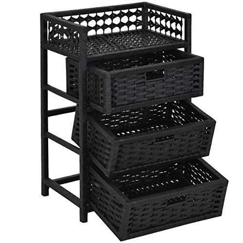 Storage Unit Tower Shelf Wicker Baskets Storage Chest Rack Black 3 Drawer