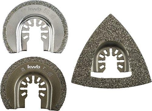kwb Karbidraspel-Set – Multitool Diamant-Sägeblatt, 3-teilig, inklusive Delta-Raspel