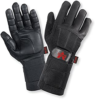 Valeo Black Pro Full-Finger Premium Leather Anti-Vibe Gloves with Wrist Wraps and AV Gel in Palm with Gel Foam in Thumb, Thumb Joint and All Fingers, Medium