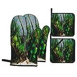 Guante de Horno de 4 Piezas y agarradera,Acuario Algas Elementos Flora,Guantes Aptos para Alimentos Antideslizantes Impermeables y Resistentes al Calor para microondas cocinar y Hornear en la Cocina