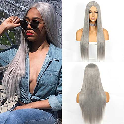 QD-Udreamy Soft Natural Long Silk Straight Women Wigs None Lace Synthetic Christmas Wigs Gray Cosplay Party New Year Gift Women Wig