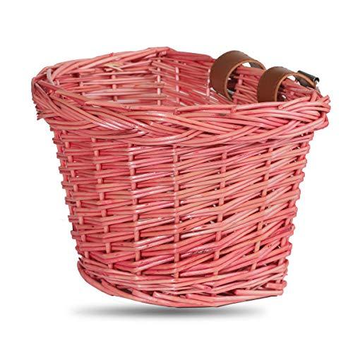 STITCH Cycmoto - Cesta de bicicleta ecológica para niños con correas de cuero, resistente a la presión, resistente a la caída, color rosa