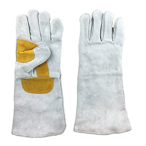 """Instapark Welding Gloves Medium Large XL MIG STICK TIG Compatible Leather Lined, Grey 16"""" One Size Fits All"""