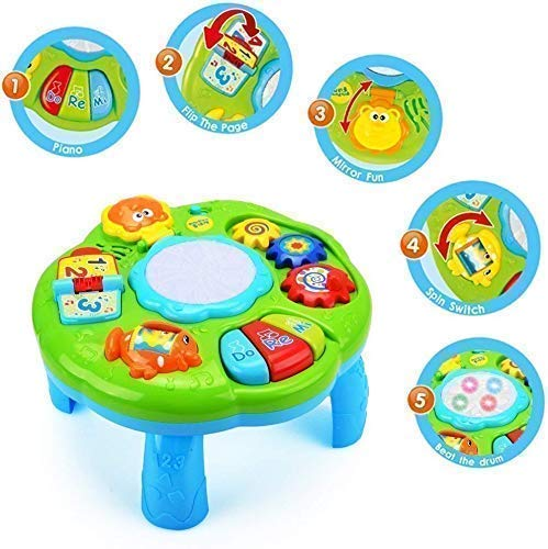 galaxy hi-tech® musical learning table baby toys - early educational development activity center multiple modes game for toddlers boys girls kids infant music lighting animals sound gifts-Multi color