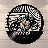 LED-Reloj de pared de carreras de velocidad de motocicleta Vintage Reloj de pared con registro de vinilo de motocicleta de campo traviesa Reloj de pared con decoración de regalo para motociclista