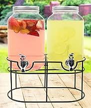 Estilo 1 gallon Glass Mason Jar Double Beverage Drink Dispenser On Metal Stand With Leak Free Spigot