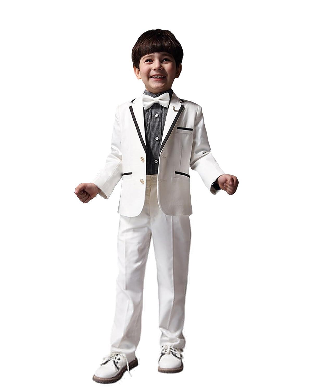 [FERE8890] ボーイズ 子供スーツ 4点セット コート パンツ シャツ 蝶ネクタイ 上下セット ポケット付き リングボーイ 春物 秋物 子供の日 贈り物 ピアノ発表会
