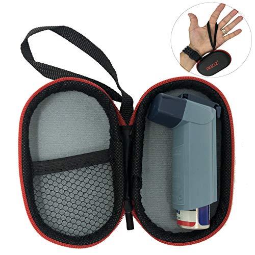 AGOZ Medizinische Tasche für Asthma mit Reißverschluss und Handgelenkschlaufe, schwarz/red
