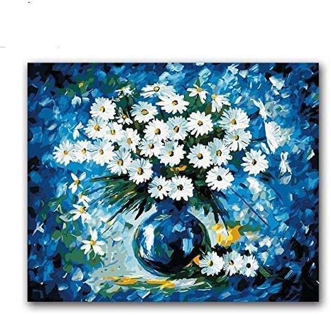 jjwka Pintura Al Óleo Pintura por Digital Blue Daisy Vase Arreglo Floral DIY Pintura Digital Colorear sobre Lienzo Dibujo con Bolsa-40X50 (Sin Marco)