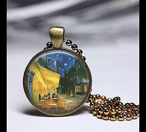 Halskette mit Anhänger in Form einer Café-Terrasse bei Nacht, Vintage-Kunst mit rundem Messing-Anhänger, Kunst-Foto-Schmuck, Glashalskette,