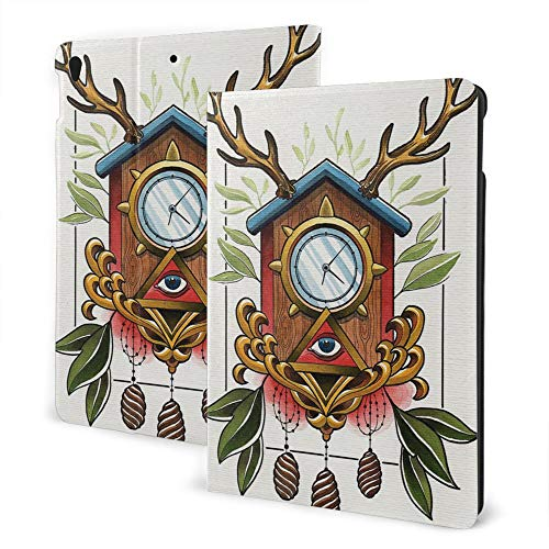 iPad 8/7 Case (10.2In, 2020/2019 Model, 8th / 7th) iPad Air3 & Pro Case Print - Trippy Art Decor Surreal Paint of Ancient Clock with Eye Sign and Reindeer Antlers ODD Theme Multi