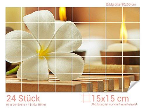 GRAZDesign Fliesenaufkleber Frangipani-Blüte/Kerzen Wand-Deko für Bad/Küchen-Fliesen (Fliesenmaß: 15x15cm (BxH)//Bild: 90x60cm (BxH))