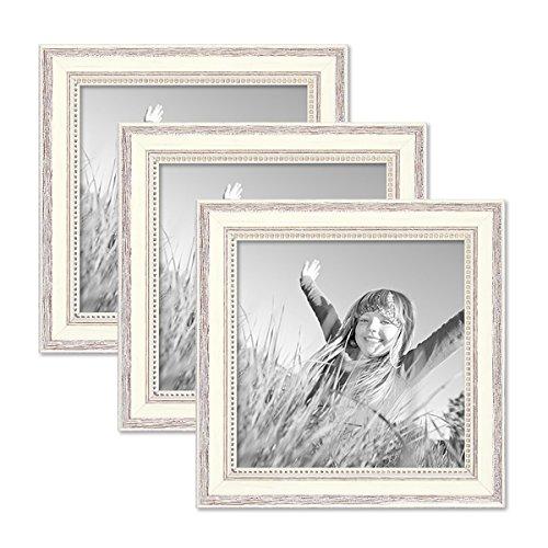 Photolini 3er Set Bilderrahmen Shabby-Chic Landhaus-Stil Weiss 20x20 cm Massivholz mit Glasscheibe und Zubehör/Fotorahmen