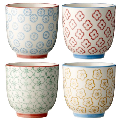 Bloomingville kleine Becher Emma, rot grün blau gelb, Keramik, 4er Set