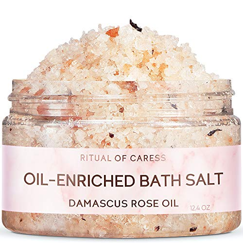 Natural Bath Salt with Himalayan Pink & Dead Sea Salt | Rejuvenating Oil - Enriched Salts with Rose & Peach Essential Oils | Unique Relaxing SPA Gift for Women | Detox Body & Foot Soak – 12.4 Oz