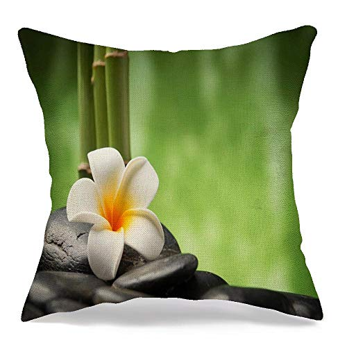 Throw Pillow Cover Garden Therapy Spa Concept Fengshui Zen Rock Basalt Boulder Stones Bamboo Nature Design Balance Linen Decorative Square Cushion Cover for Bed Couch Sofa 16 x 16 Inch