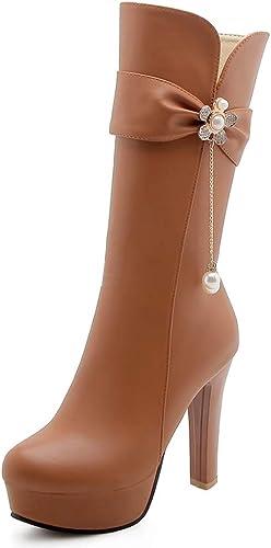HOESCZS A Estrenar más el Tamaño 34-43 zapatos de plataforma de Moda botas de damas Agregar Pieles Tacones Altos de Invierno botas de Mitad de la Pantorrilla zapatos de damas