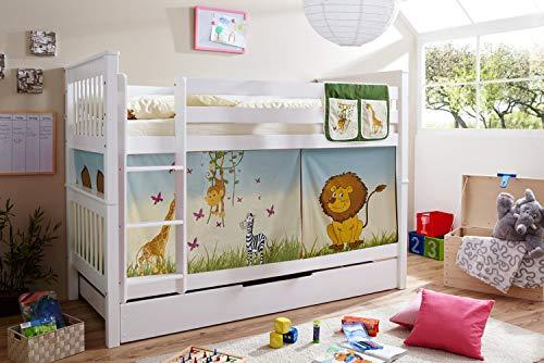Etagenbett Doppelbett Stockbett Sammy teilbar Buche massiv Weiss mit Farbwahl, Vorhangstoff:Safari