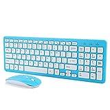 SONK Combo de Teclado inalámbrico y ratón, Ultradelgado Teclado Compacto de tamaño Completo de 96 Teclas y Juego de Mouse de 4 Teclas con 3 velocidades Receptor Micro USB(Conjunto Azul inalámbrico)