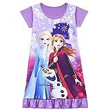 Nachthemd für Mädchen, Cartoon-Prinzessin, Schlafanzug, Kleid, Nachtwäsche, 3–10 Jahre Gr. 3-4 Jahre, Purple3