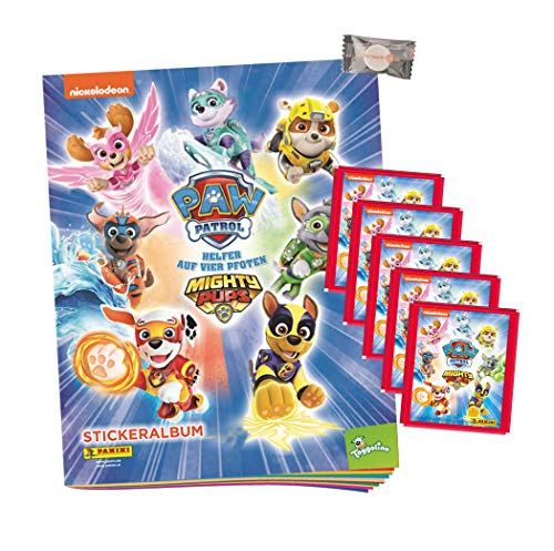 .Panini - Paw Patrol Sticker - Mighty Pups Sammelsticker - Serie 4 (2020) - 1 Album + 5 Tüten + stickermarkt24de Gum
