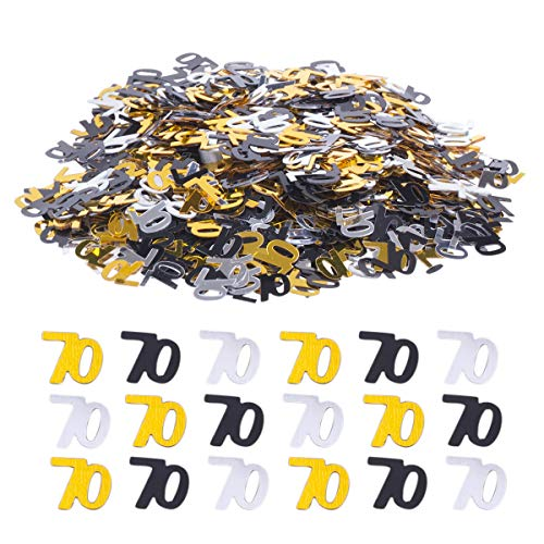 Haley Party 70th Birthday Decorations 70th Anniversary Decorations 70 Party Confetti Metallic Foil Number Confetti for 70th Birthday Party Supplies Anniversary Table Confetti Decorations (Gold Silver